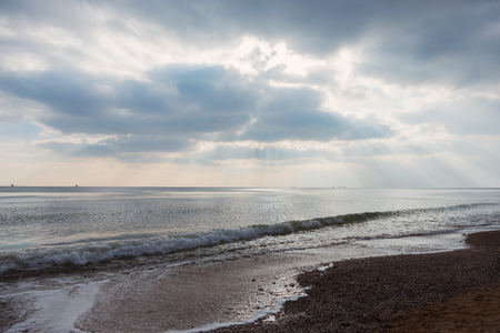 Beautiful view of the sea from a bird's eye view. The stunning cloudy sky reflected on the beach Fontanka, Odessa, Ukraina. Concept of leisure and sea travel. 写真素材