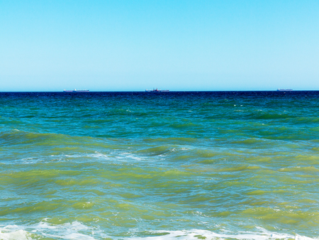 Panoramic seascape. On the horizon Ships in the roads, near Odessa 免版税图像