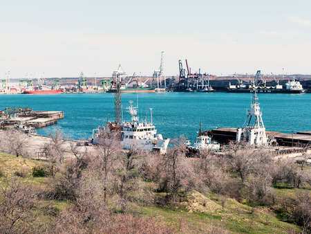 Odessa, Ukraine - March 21, 2019: Industrial and trade terminal in the seaport near Odessa, Ukraine