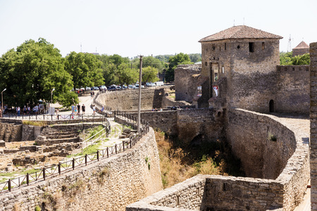 ODESSA, UKRAINE - JULY 20, 2019: Ancient stone and brick Akkerman fortress