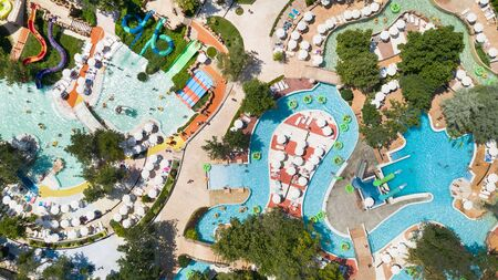 Albena, Bulgaria, Aquapark view from above, people relaxing on a summer day. Aerial image a drone. Travel and vacation concept.