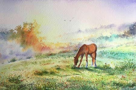 Watercolor brown horse standing in grass in sunset light. Yellow, purple and green background. Holy days of muslim community. Eid al-Adha Mubarak, Sacrifice Greeting, Kurban Bayraminiz Kutlu Olsun.