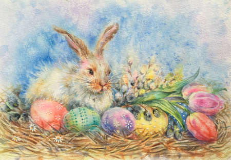 Watercolor easter bunny and easter eggs, tulips, willow tree on grass. Decorative eggs - purple, green, blue, yellow. Horizontal view, copy-space. Template for designs, card, wallpaper.