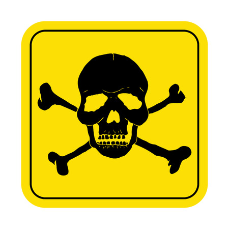 Signo de peligro cuadrado con símbolo de calavera. Señal de peligro mortal, señal de advertencia.