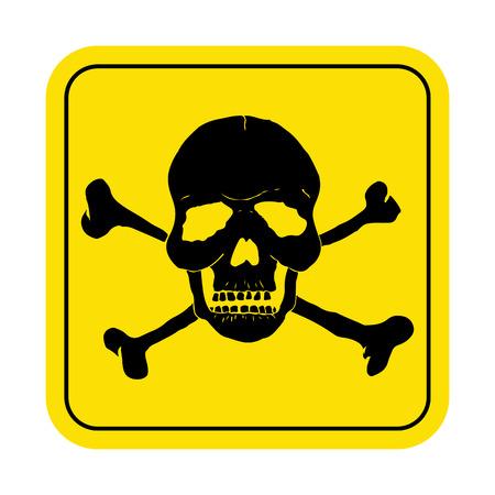 Square danger sign with skull symbol. Deadly danger sign, warning sign.