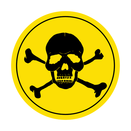 noxious: Yellow danger sign with skull. Round danger sign. Illustration