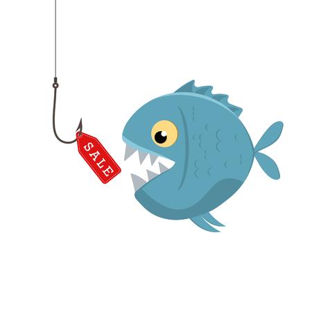 Label sales on a fishing hook. Bait fish Illustration