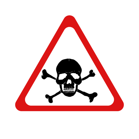 Vector danger sign with skull and crossbones. Vector illustration. Illustration