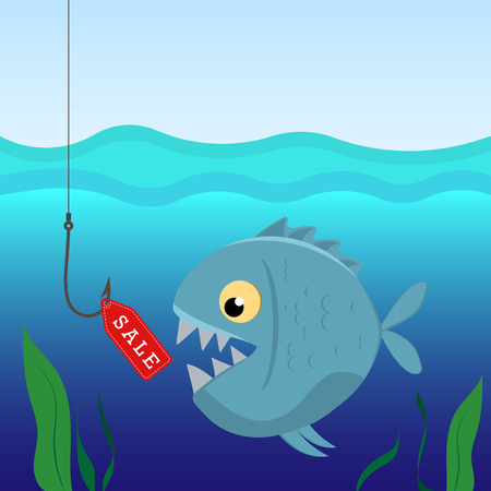 Fish under water on the hook with a label sales. Business concept and sales. Vector illustration