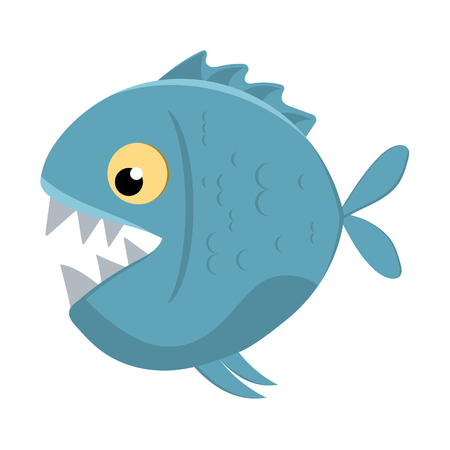 slashing: Cute cartoon piranha with sharp teeth. Vector illustration Illustration