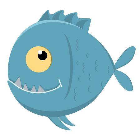 Cute cartoon piranha with sharp teeth. Vector illustration Illustration