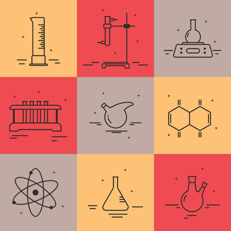 chemically: Chemical laboratory equipment vector icons in linear style. Graphic design elements for packaging, apps, website,advertising, poster and brochure