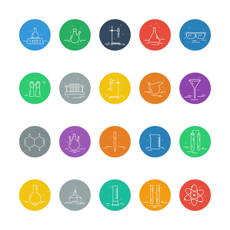 Set of icons with chemical laboratory equipment. Illustration