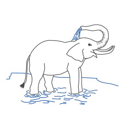Olifant gieten zichzelf met water