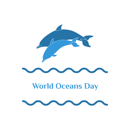 World Oceans Day - June 8. Vector illustration of two dolphins