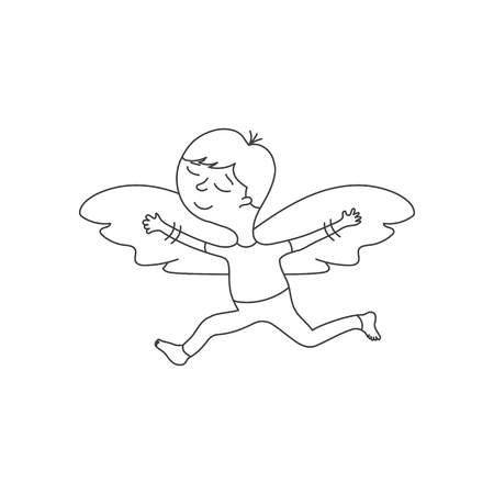 funny pictures: Cute cartoon character with wings in a linear style on white background.