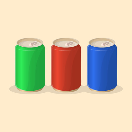 Soda in a tin in red, green and blue color