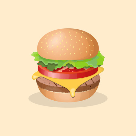 sesame: Illustration of a hamburger with tomato, lettuce, and cheese Illustration