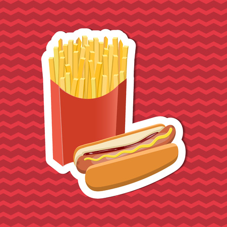 bun: Sticker of hot dog and fries on red striped background. Graphic design elements for menu, poster, brochure. Vector illustration of fast food for bistro, snackbar, cafe or restaurant.