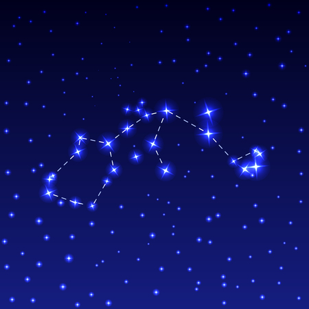 The constellation of Aquarius in the night starry sky. Vector illustration of the concept of astronomy.