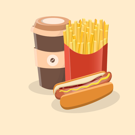 Hot dog with french fries and coffee to go - cute cartoon colored picture. Graphic design elements for menu, packaging, advertising, poster, brochure or background. Vector illustration of fast food.