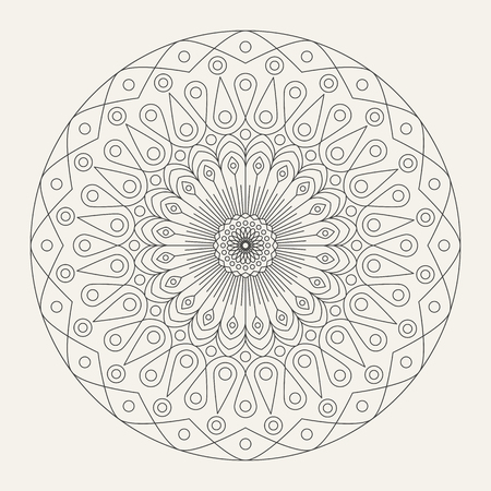 Vector mandala - round ornament. Traditional indian symbol. Islamic, arabic, buddhistic or mystic motif. Illusztráció