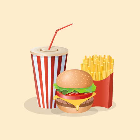 Burger with french fries and soda cup - cute cartoon colored picture. Graphic design elements.