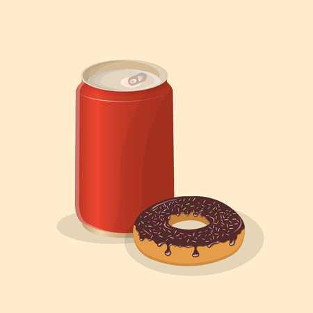 Donut with soda in a tin can - cute cartoon colored picture. Graphic design elements for menu, poster, brochure.