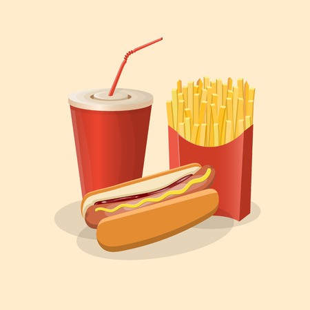 Hot dog with french fries and soda cup - cute cartoon colored picture. Graphic design elements for menu, packaging, advertising, poster, brochure or background. Vector illustration of fast food.