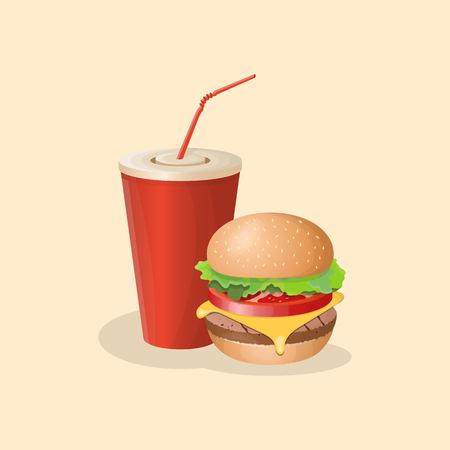 Burger and soda cup - cute cartoon colored picture. Graphic design elements for menu, poster, brochure. Vector illustration of fast food for bistro, snackbar, cafe or restaurant.