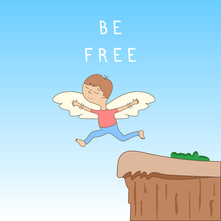 Be free - cute cartoon character with open arms with wings - the concept of freedom and creativity. Jump off a cliff. Vector illustration