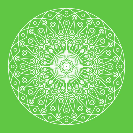 Vector mandala - round white ornament on green background. Traditional indian symbol. Islamic, arabic, buddhistic or mystic motif. Flower of mandala in linear style. Graphic template for your design.