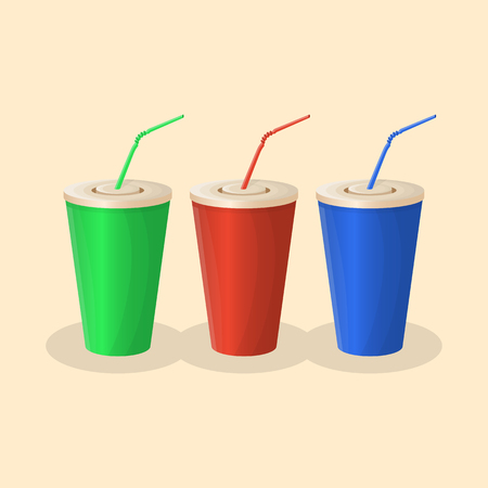 Soda cups in red, green and blue color on yellow background. The set of beverage. Graphic design elements for menu, poster, brochure. Vector illustration of fast food for snackbar, cafe or restaurant. Illustration