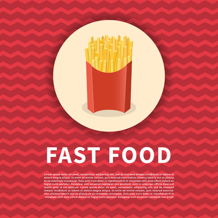French fries poster. Cute colored picture of fast food on red background. Illustration
