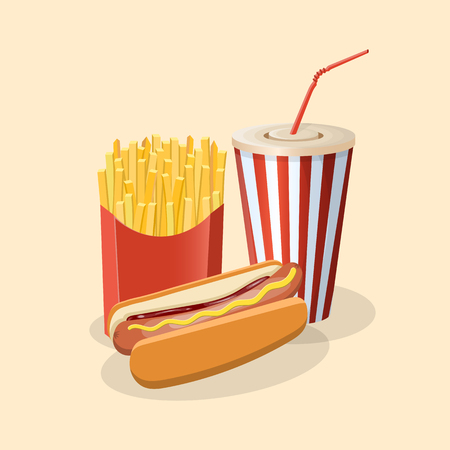 Hot dog with fries and soda cup - cute cartoon colored picture. Graphic design elements for menu, poster, brochure. Vector illustration of fast food for bistro, snackbar, cafe or restaurant.