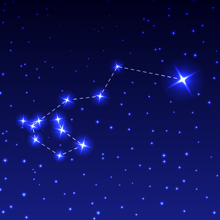 The Constellation Of Carina in the night starry sky. Vector illustration of the concept of astronomy.