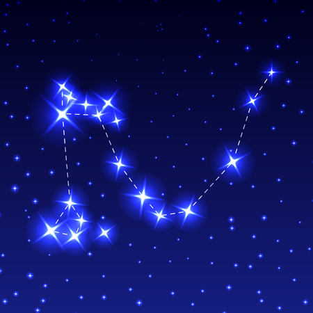 The Constellation Of The Dragon in the night starry sky. Vector illustration of the concept of astronomy.