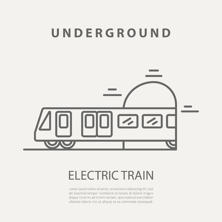 Vector electric train icon or badge. Graphic design elements in outline style for packaging, apps, website, advertising, poster and brochure. Иллюстрация
