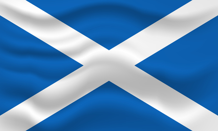 Ondeando la bandera de Escocia. Ilustración vectorial para su diseño Foto de archivo
