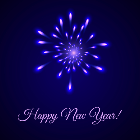 Happy New Year - greeting card with fireworks on dark blue background. Vector illustration Фото со стока - 122533097