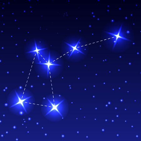 The Constellation Fly in the night starry sky. Vector illustration of the concept of astronomy