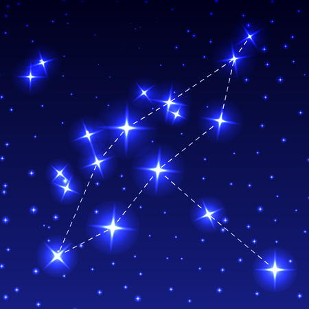 The Constellation Of Cygnus in the night starry sky. Vector illustration of the concept of astronomy.
