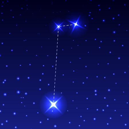 The Constellation Of The Small Horse in the night starry sky. Vector illustration of the concept of astronomy.
