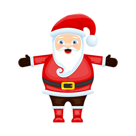 Cute cartoon Santa Claus isolated on white background. Christmas character. Vector illustration