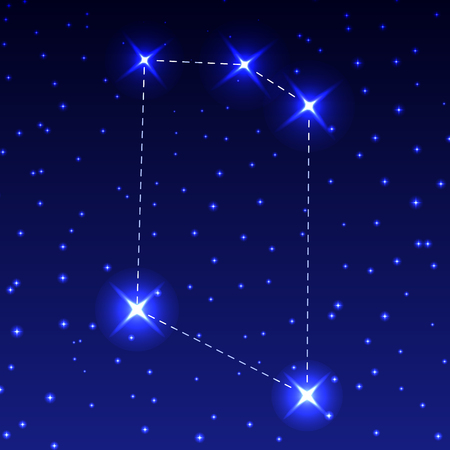 The Constellation Of The Microscope in the night starry sky. Vector illustration of the concept of astronomy.