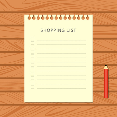 Flat shopping list and red pencil on wooden background. Stationery on wooden table, top view. Vector illustration.