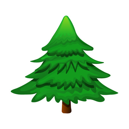 Green cartoon Christmas tree. Stylized green spruce isolated on white background. Christmas template. Vector illustration