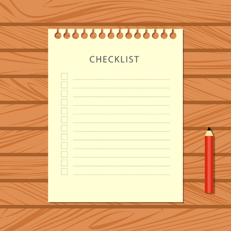 Flat checklist and red pencil on wooden background. Stationery on wooden table, top view. Vector illustration.