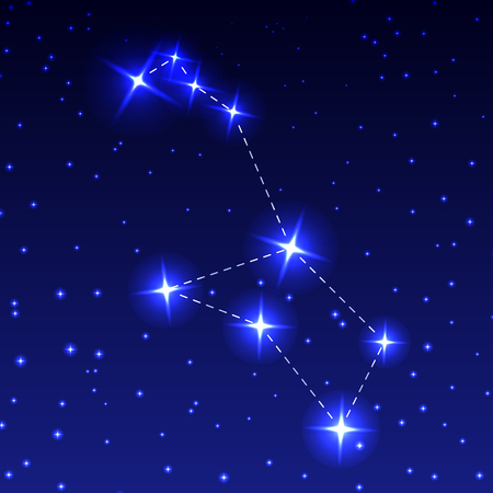 The Constellation Of Stern in the night starry sky. Vector illustration of the concept of astronomy.