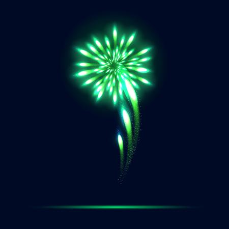 Bright emerald fireworks on a dark blue background. Green fireworks on dark sky. Vector illustration